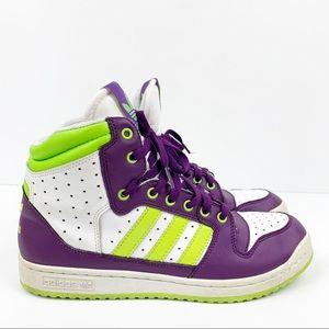 Adidas Purple Green High Top Sneakers